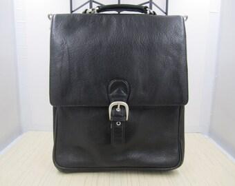 Unisex noir robuste galet véritable peau de vache en cuir besace / cartable, porte sur le sac