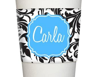 Personalized Java COFFEE SLEEVE wrap Monogrammed Black Swirl Toile name initial flourish frame