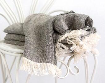 Linen comforter - Fringe Bed Throw - Pure Linen Blanket - Beach Blanket