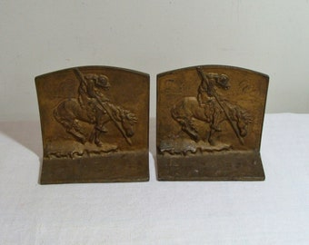 Vintage Bron Met Native American End of Trail Bookends