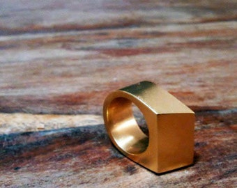 Geometric ring gold, contemporary rings for women, Big rings for men, Statement ring, Golden ring, Modern rings gold, Christmas Gift for her