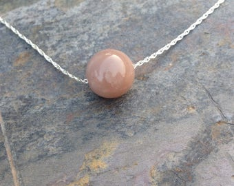 Sunstone Single Bead Necklace