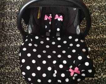 baby car seat apron harness strap covers detachable bow black white dotty cotton fleece cerise pink satin bows  universal fit new handmade