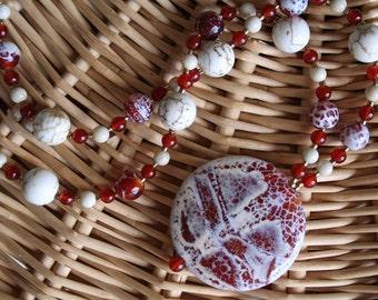 CRIMSON AND CLOVER Necklace (Fire Crackle Agate, Carnelian, Riverstone, Magnesite)