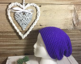 Handmade Crochet Knit Soft Warm Simple Slouch Winter Hat/Toque/Beanie - Purple/Grape