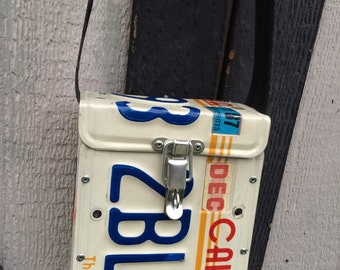 Vintage California license plate purse. Custom made. license plate lunch box,