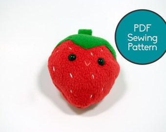 Strawberry Fruit Plushie Pattern, PDF Sewing Pattern, Strawberry Fruit Sewing Pattern