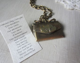 10 reasons why i love you, love letter necklace, envelope locket, personalized locket