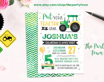 Tractor Birthday Invitation, Green Tractor invite, Farm Birthday Invitation, Boy invitation Printable Invitation