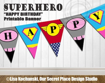 INSTANT DOWNLOAD Editable Superhero Banner Printable Superhero Banner Superhero Birthday Super hero Birthday Superhero Baby Shower Banner