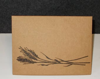 Thank You Cards Hand Stamped Sheaf of Wheat Grain Card Set of 5 Blank Greeting Card Set Kraft Paper Card Stock