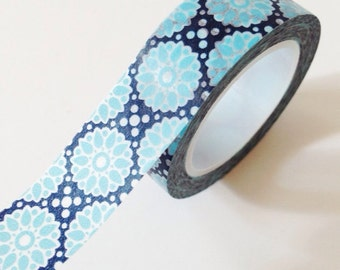 Blue and Navy Floral Washi Tape Scrapbooking Gift Wrap Wedding masking tape