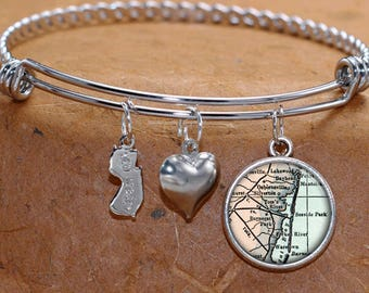 Toms River Seaside Park New Jersey Map Charm Bracelet State of NJ Bangle Cuff Bracelet Vintage Map Jewelry Stainless Steel Bracelet