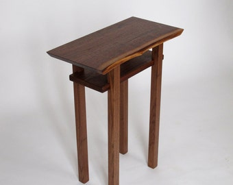 Live Edge Side /End Table: Small Accent Table/ Bed Side Table, Walnut
