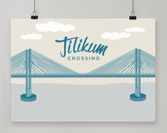 Tilikum Crossing / Illustrated Print / Portland, Oregon Design