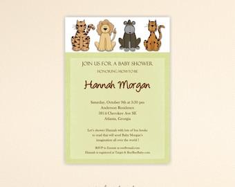 Jungle Baby Shower Invitation, safari, gender neutral, sip and see, gender reveal, animals, digital, printable, invite B1450