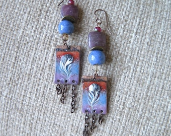 fire torch enamel earrings, blue and purple earrings, tassel earrings, chain earrings, boho earrings, boho jewelry, cornflower blue earrings