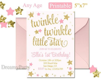 Twinkle Twinkle Little Star First Birthday Invitation, Twinkle Twinkle Little Star Invitation, Pink and Gold invitation, Digital File.