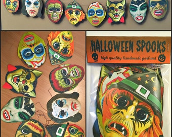 Hallows Eve Masks Garland Halloween Banner