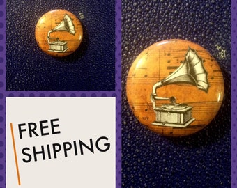Old Phonograph Button Pin, FREE SHIPPING & Coupon Codes