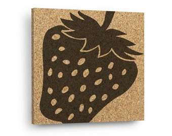 STRAWBERRY - Fruit and Vegetable Strawberries - Mix & Match Cork Tiles Or Kitchen Trivet - Wall DéCork