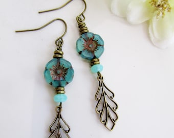 Blue Bohemian Earrings, Turquoise Flower, Botanical, Brass filigree Leaf, Nature  Inspired, Redpeonycreations