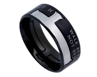 "Iron Cross Ring ""Walk By Faith"""