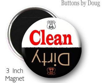 Clean Dirty Dishwasher Magnet with Route 66 Shields