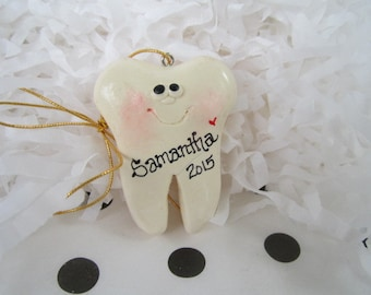 Personalized Tooth Christmas Ornament, dentist ornament, personalized name and date, lost tooth,  first tooth ornament , hygienist ornament