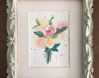 Hand Painted flower bouquet in watercolor, 6x8