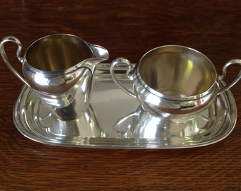 Wallace Sterling Silver Cream and Sugar Set with Tray