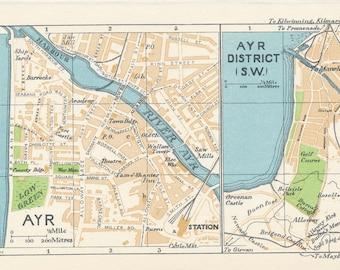 1959 Ayr Scotland Antique map