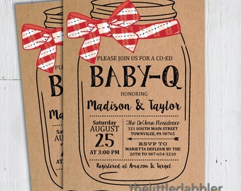 Printable BBQ Mason Jar Baby Shower Invitation -- Red Kraft Country Picnic Baby Q Shower, Co-Ed Baby Barbecue Shower -- PNG & JPG