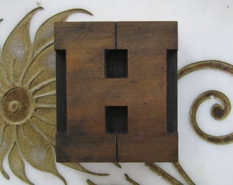 Letter H Antique Letterpress Wood Type Printers Block