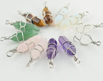 8x32mm Mix Colors Natural Stone Connector Crystal Stone Pendant Silver Wire Wrapped Pendant M0018