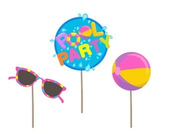 Cupcake Topper, Pool Birthday cupcake topper, Pool party picks, pool party cake topper, pool party, pool party decor, pool party birthday
