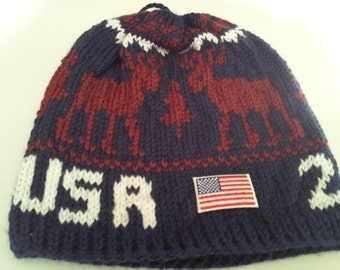 2014 Winter Olympic  Inspired slouchy  Beanie (Made to Order),red white blue beanie, patriotic beanie, americana hat