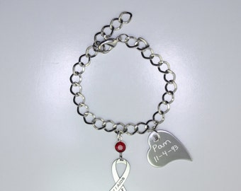 Personalized HIV AIDS Awareness Ribbon Bracelet - Support, Memorial Jewelry - Heart Charm with Your Personalized Message
