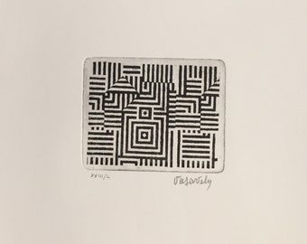 VICTOR VASARELY - hand signed & numbered original etching - c1970s (edition of 23)
