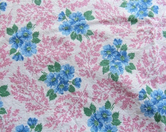 vintage FULL unopened feed sack fabric -- blue and pink floral print
