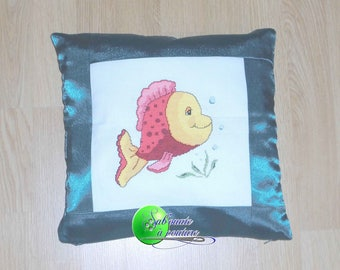 Fish cross stitch Embroidered Pillow