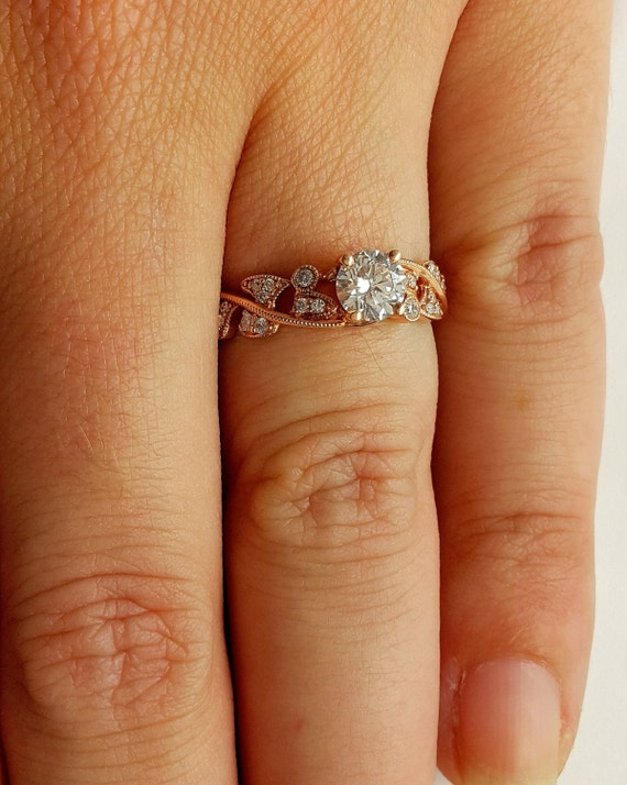 Rose Gold Diamond Engagement Ring With Natural Diamonds In