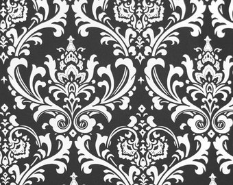 "OZBOURNE Premier Prints Damask Fabric By The Yard Black or choose from 15 colors-54"" wide Fabric By The Yard  cotton decorator fabric"