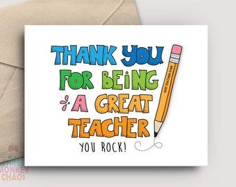 Teacher Appreciation Card | PRINTABLE Card | Being a Great Teacher | Thank You Card | Teacher Gift | End of School | Print & Color!