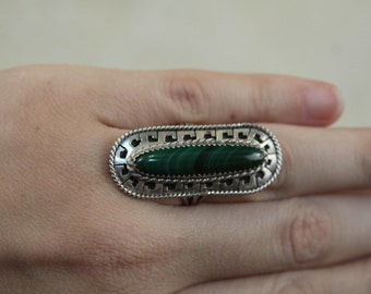 Native American Indian ring - super long green malachite in sterling silver - signed FREE SHIPPING SALE