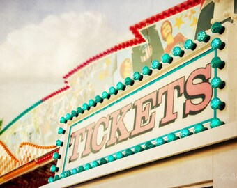 Ticket Booth Photograph, Nursery Decor, Jenkinsons, Jersey Shore, Carnival