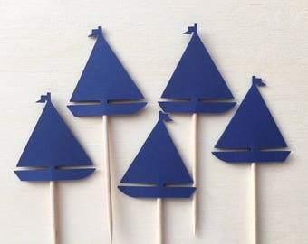 24 Sailboat Cupcake Toppers, Blue, Nautical Party Decor, Baby Showers, Birthdays, Double-Sided, Transportation, Travel Theme