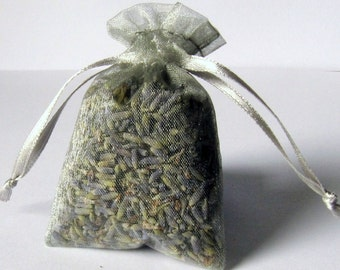 LAVENDER sachets 6 pack ORGANIC Lavendar in 3x4 GREY color organza bags aromatherapy
