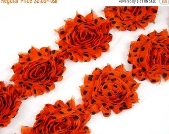 "SALE 30% OFF 2.5""  PRINT Shabby Rose Trim- Orange Black Dots - Orange Polka Dots Flowers - Chiffon Flowers -Hair Accessories  Supplies"