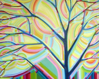 Sunlit Tree no.4 (48x48) Original painting on canvas by artist Kristi Taylor